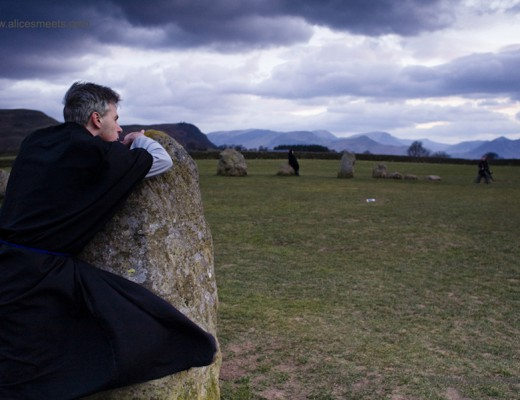 Castlerigg Stone Circle, England. The evening ritual of a witchcraft workshop. Marcus Katz is the owner of the Far away center, the first independent contemporary esoteric training centre in the UK. He regularly organizes witchcraft and tarot workshops.
