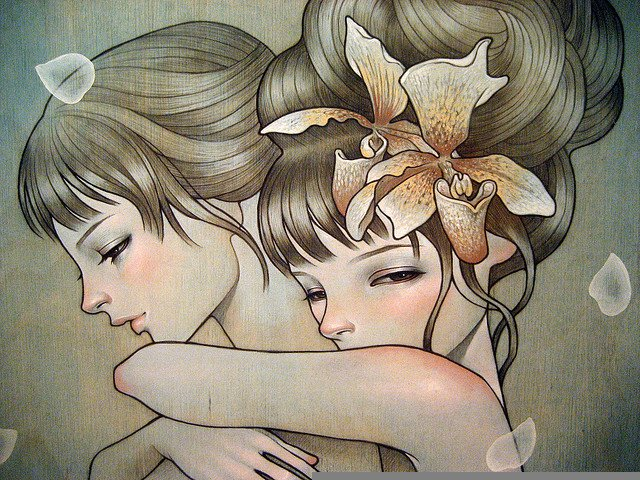 art-women-friends-hugging
